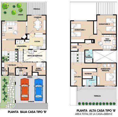 Planos de casa de 2 plantas 300m2 en total via www for Casa moderna de 7 00m x 15 00m
