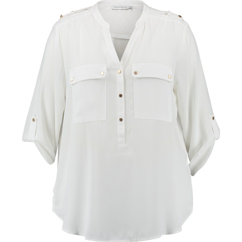 Paraphrase White Tab Sleeve Blouse Top Women Crop Shirt Vest Jacket Tk Maxx