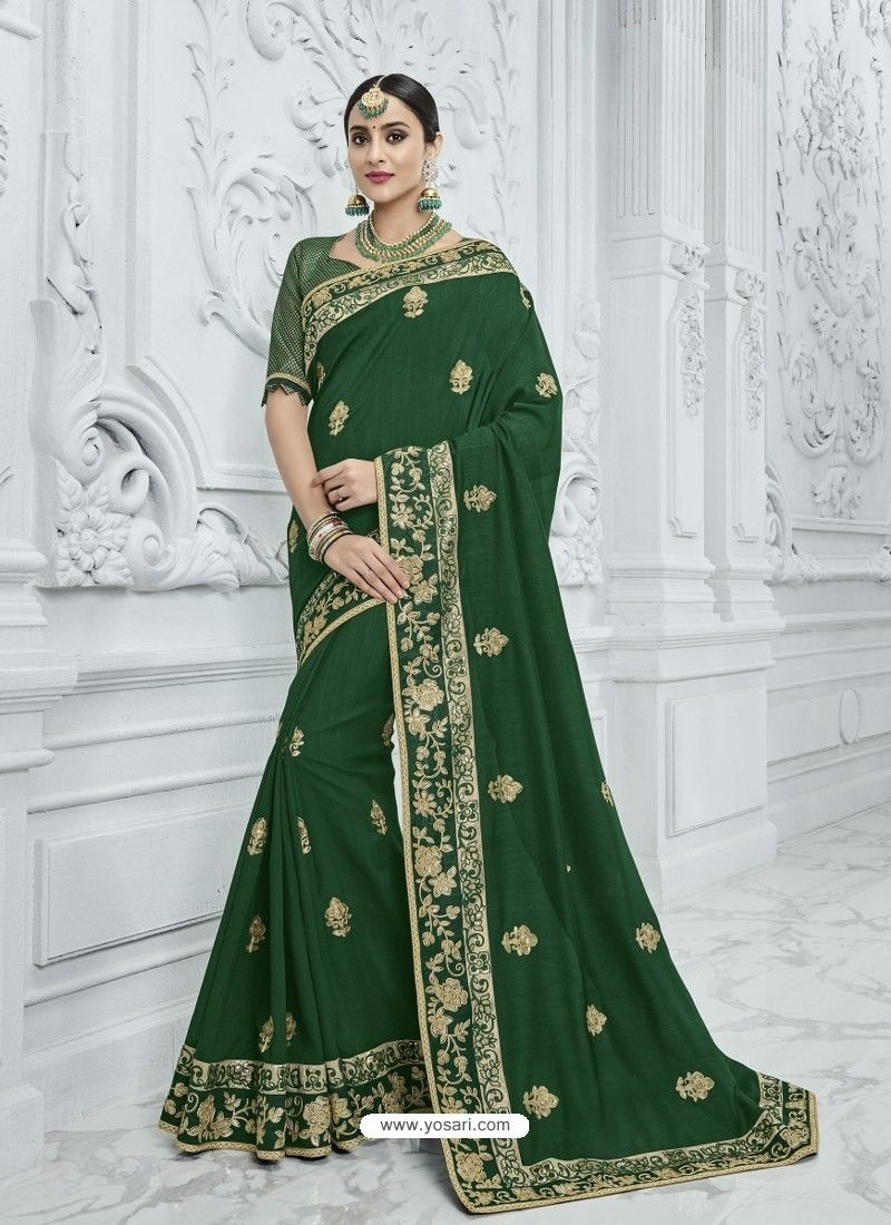 c2cd121aca55d9 Dark Green Silk Fabrics Heavy Embroidered Designer Saree in 2019 ...