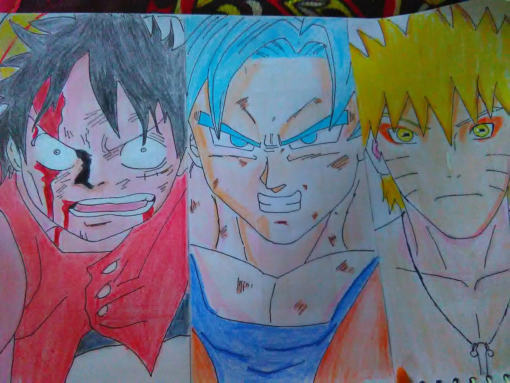 New drawing by me fusion of goku naruto luffy anime art amino Drawing Of Goku Luffy And Naruto Finished Anime Crossover Goku Drawing Anime