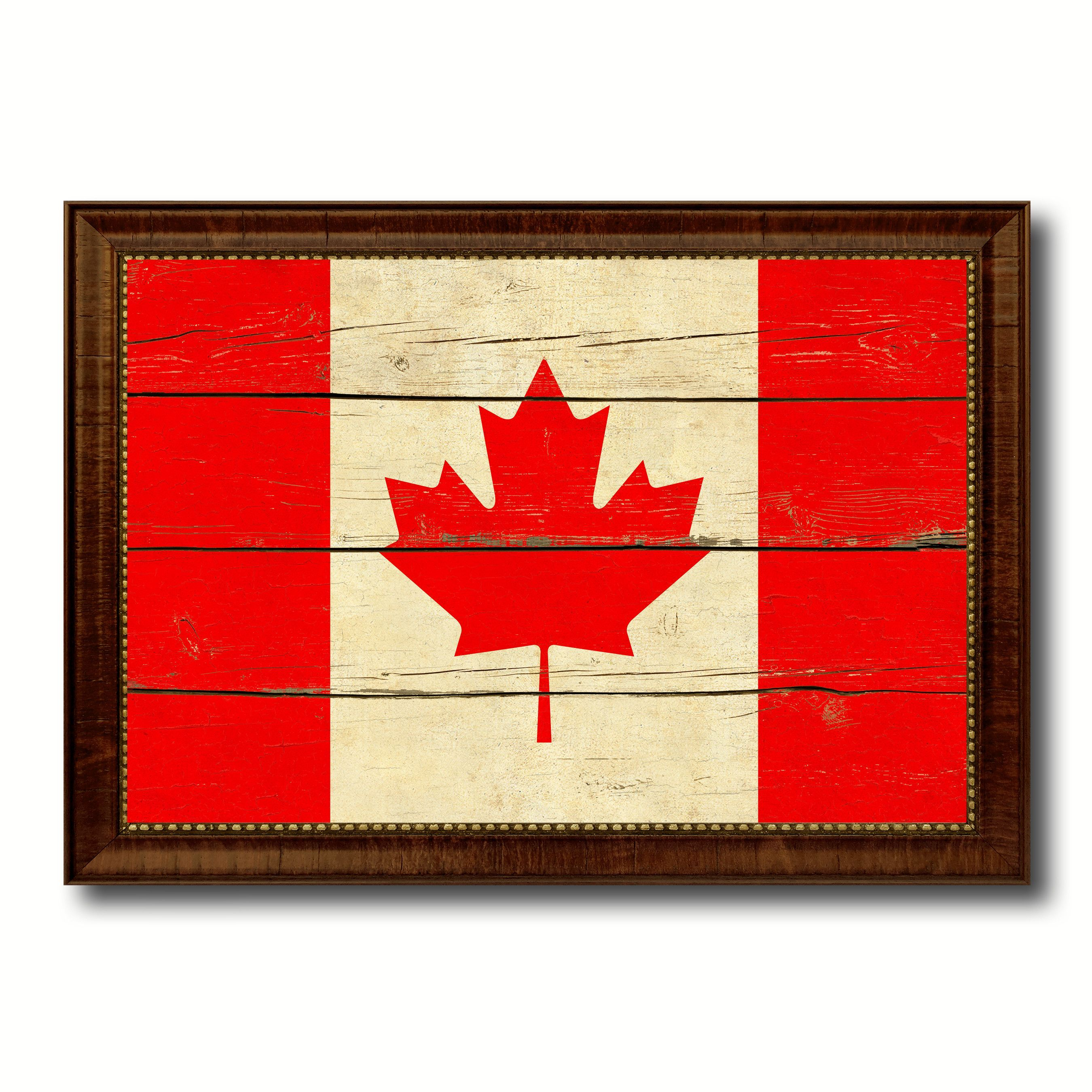 Canada Country Flag Vintage Canvas Print with Brown Picture Frame ...