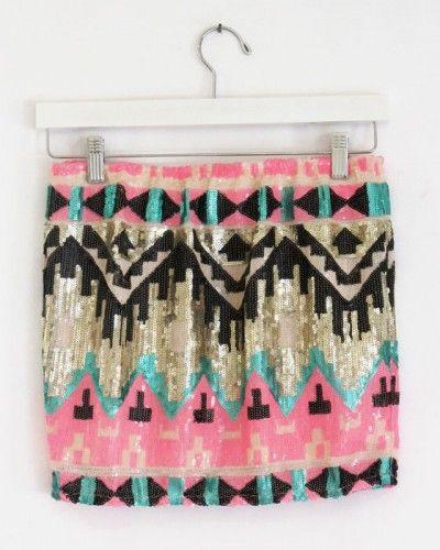 Pink Sequin Aztec Skirt $48
