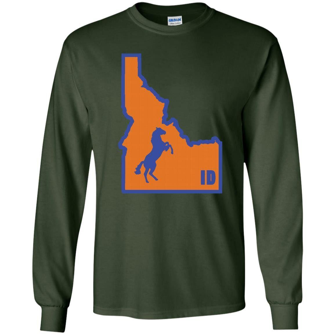 I Bronco Idaho Variant Classic University Vinyl G240 Gildan LS Ultra Cotton T-Shirt