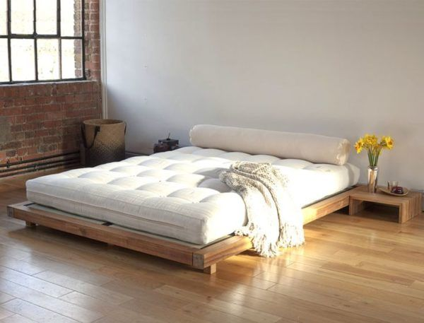 king size bed frame ideas from red oak lumber below tufted ortho mattress under hand knitted