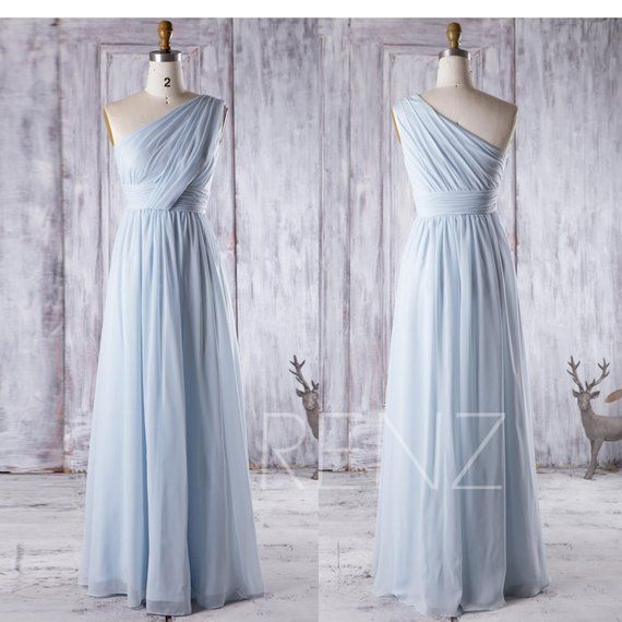Light Blue Chiffon Mismatched Bridesmaid Dress V Neck Wedding Dress Sweetheart Maxi Dress Sleeveless Evening Dress(T157/J025/J083/LS143)