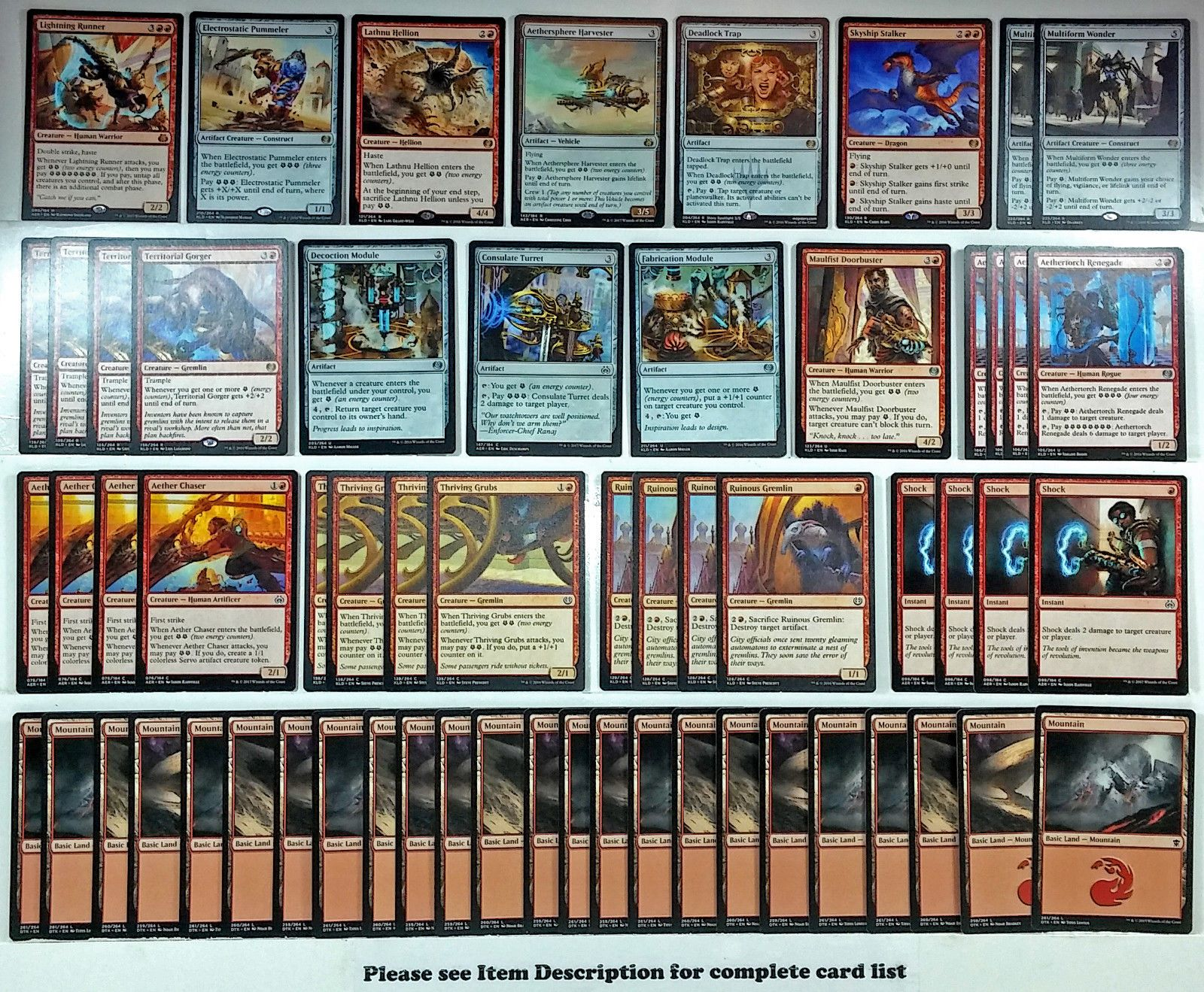 Details about mtg red energy deck magic the gathering rare