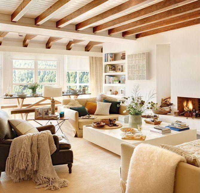 Sal n con vistas a la monta a y techo con vigas de madera - Vigas madera techo ...
