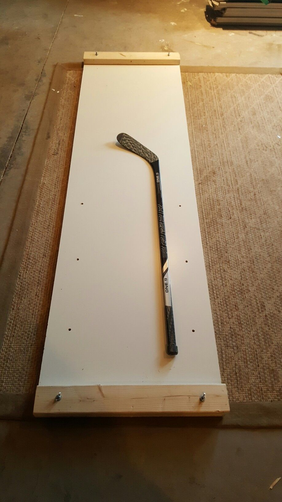 Make your own slideboard for exercise for SO MUCH CHEAPER than buying one!   I WANT.   Hockey, Hockey workouts, Hockey bedroom