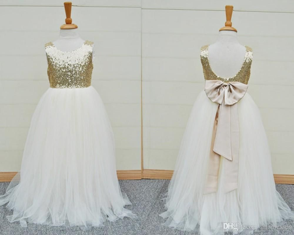a55eda3cd865 2017 Gold Sequins Flower Girls Dress Sleeveless Open Back Baby ...