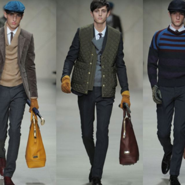 Burberry Men Fall 2012 - quilted vest over blazer.