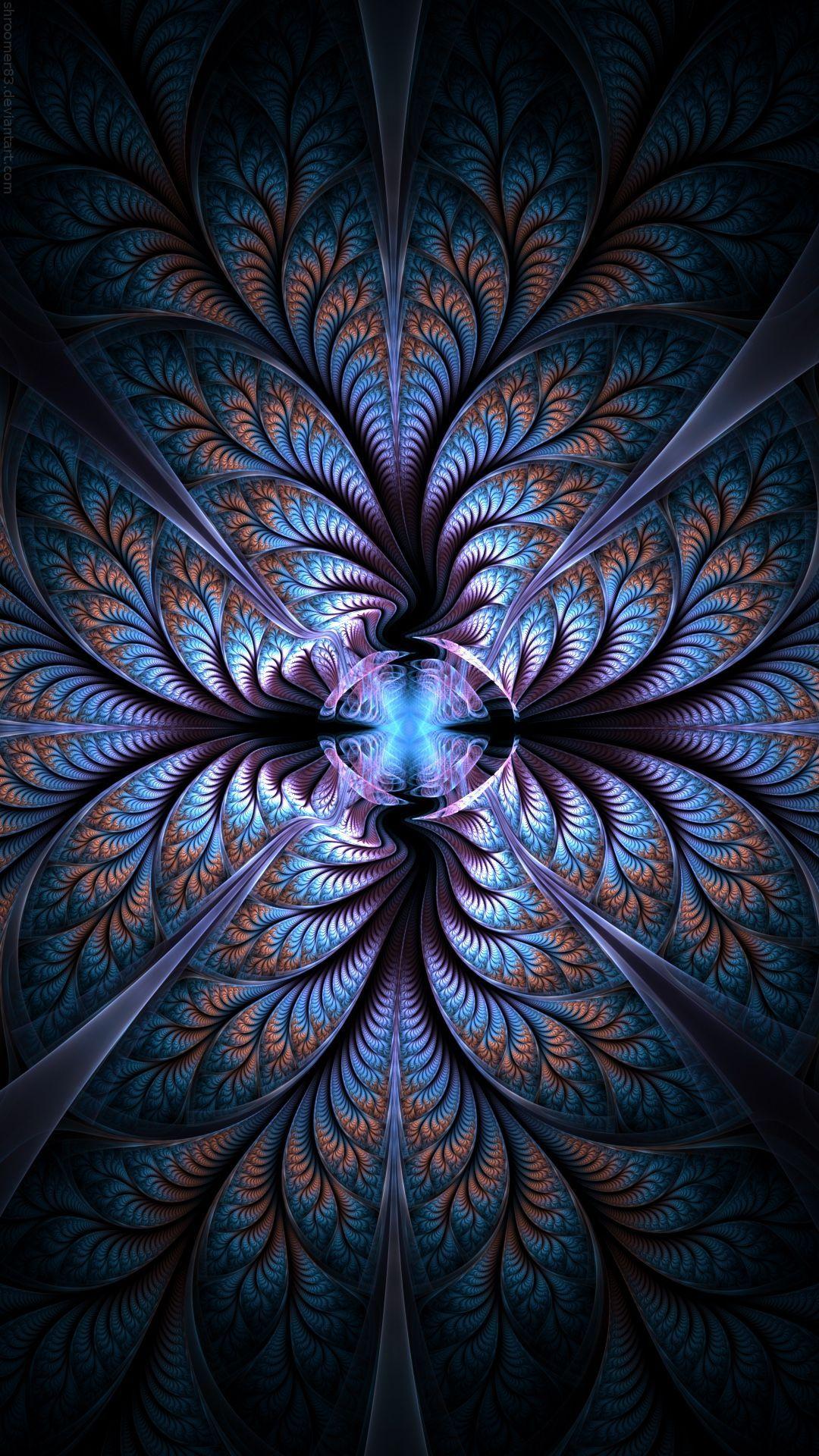 Fractal Art Blue Purple Art Pattern Symmetry Iphone