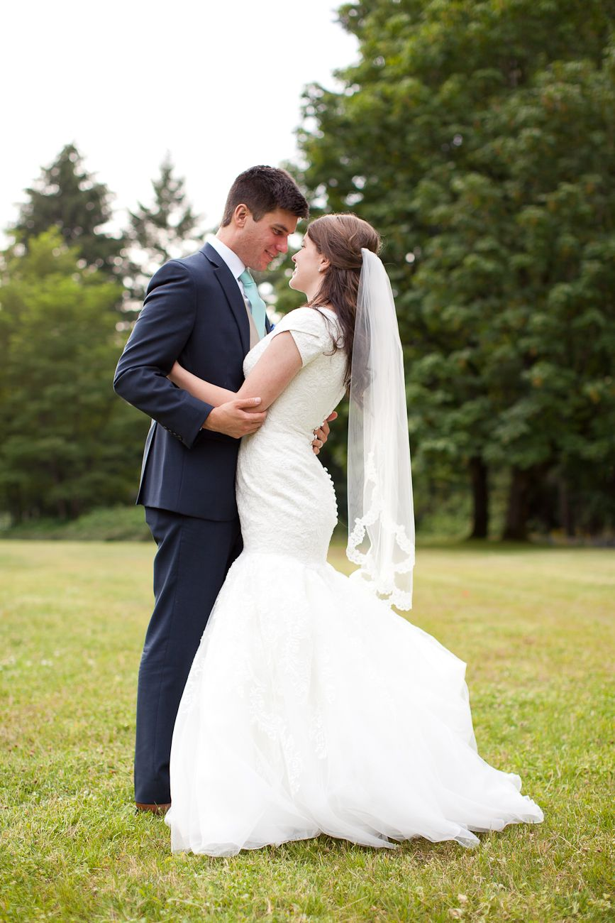modest wedding gown portland oregon. lace like print on the fabric ...