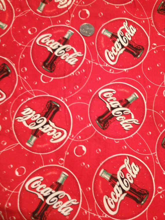 Rare CocaCola cotton fabric by Spectrix by 2Heartsstudio on Etsy, $9.50