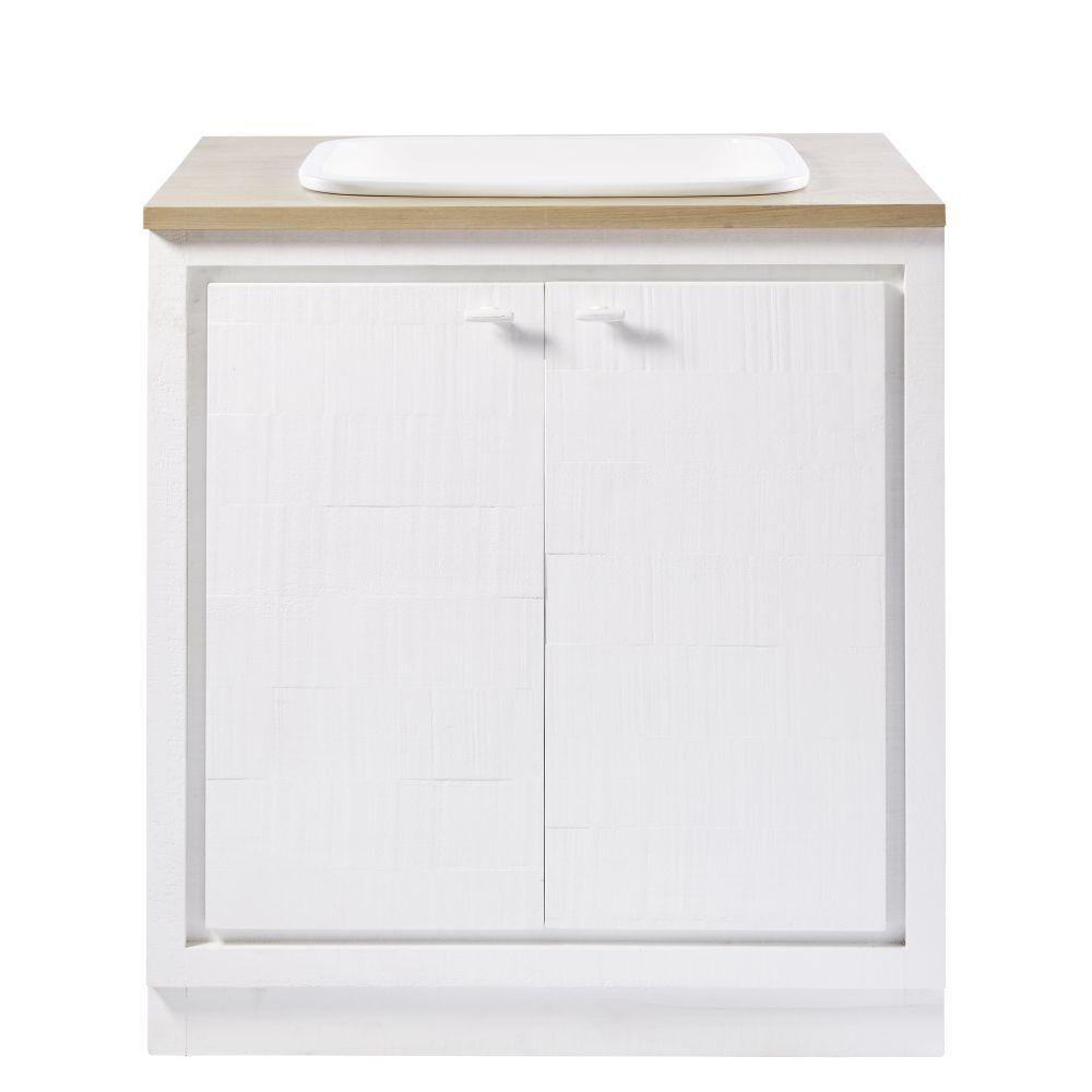 Mueble Bajo De Cocina Blanco Con Fregadero Con 2 Puertas Embrun Meuble Bas Meuble Bas Cuisine Meuble Lave Vaisselle