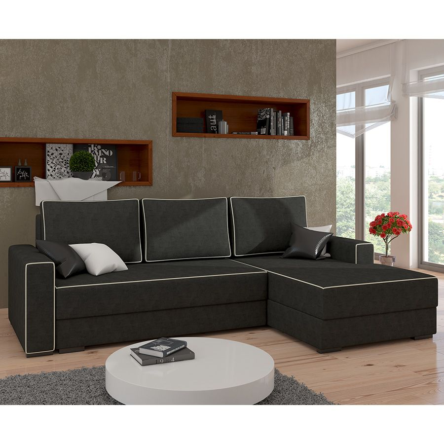 Canape D Angle Convertible Noir Et Blanc Clark 3 Mobilier De Salon Meuble Salon Deco Design