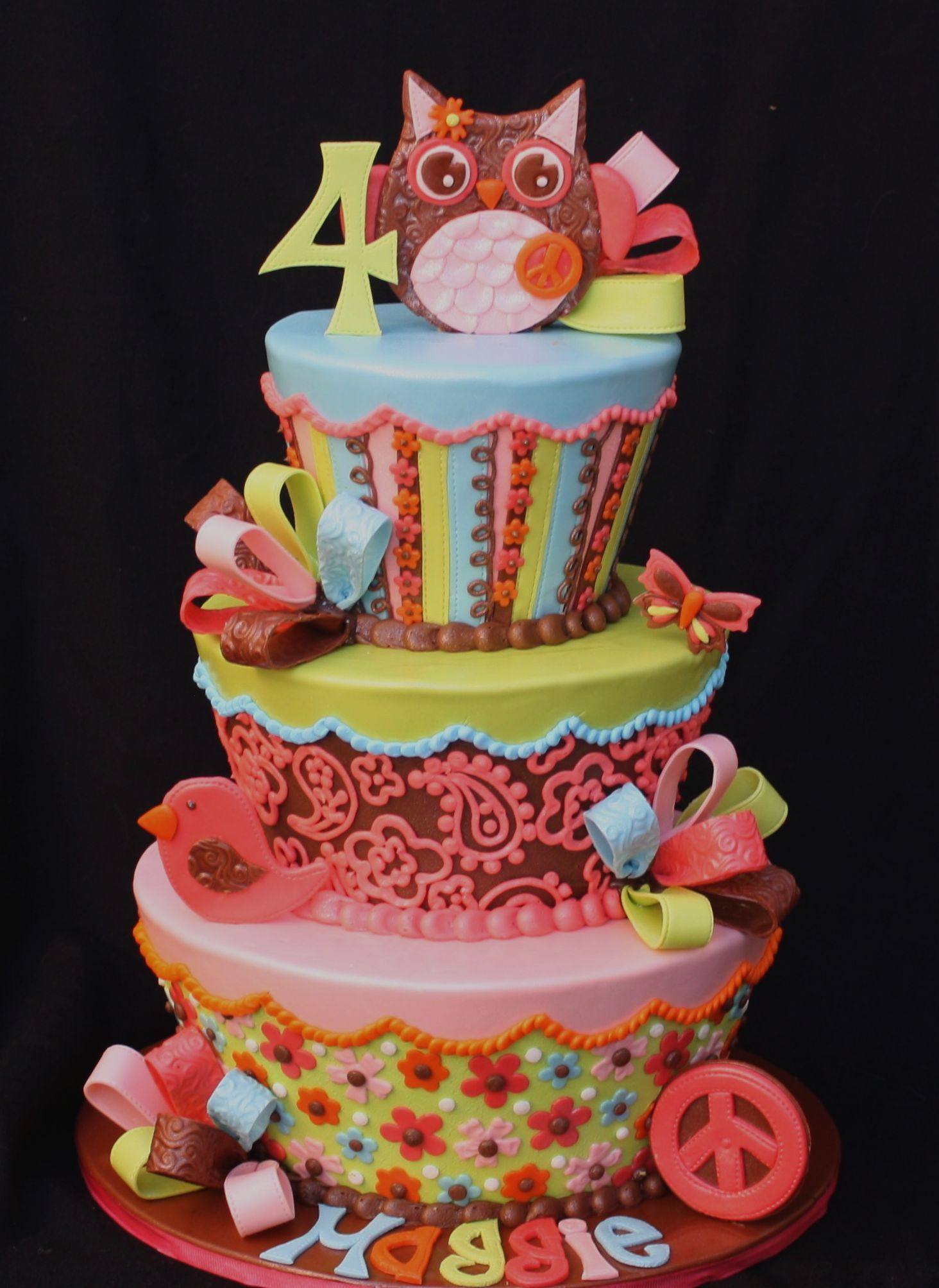 My Fave 3 Tier Colourful Owl Cake Ever by pieceofcaketx