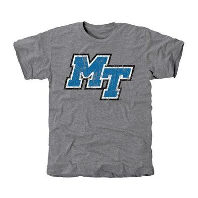 Middle Tennessee State Blue Raiders Distressed Logo Vintage Tri-Blend T-Shirt - Ash -