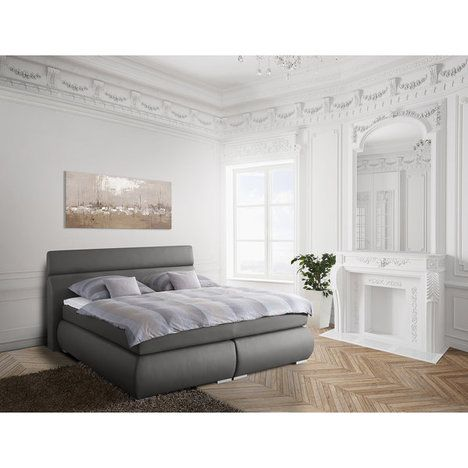 Boxspringbett VITA - grau - Taschenfederkern - 180x200 cm mit - schlafzimmer set 180x200