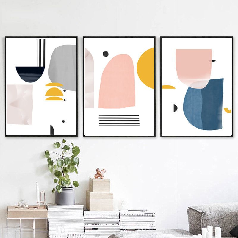Abstract Set Of 3 Scandinavian Print Geometric Poster Pink Etsy Geometric Artwork Modern Art Abstract Blue Wall Art