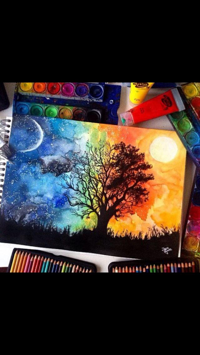 Moon Sun Colorful Painting Idea Very Vivid Artwork Drawings
