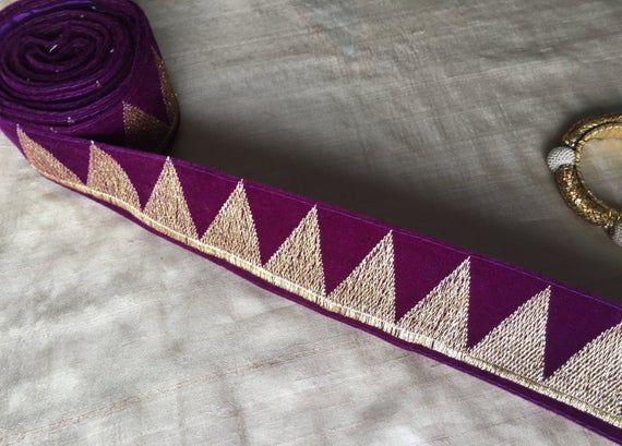 Purple Zari Velvet Indian Trim, Embroidered Golden Zari Velvet Lace Indian Bridal Lace Purple Temple Border Sari Border 5.5cm W Price/ meter