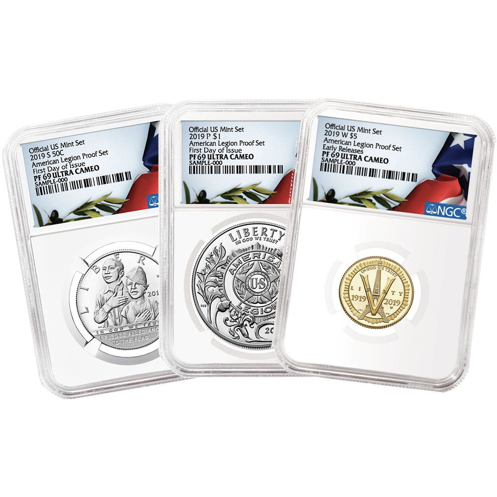 Set NGC PF70UC Brown Label Red White 2019-W Proof $1 American Silver Eagle 3pc