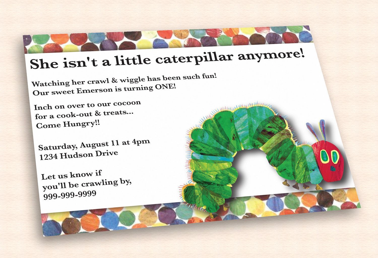Very Hungry Caterpillar Birthday Invitation by CuttlefishGreetings ...