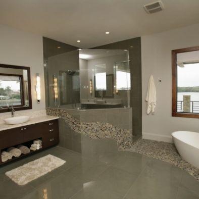 Half Wall Then Glass On Top For Shower Modern Bathroom Design