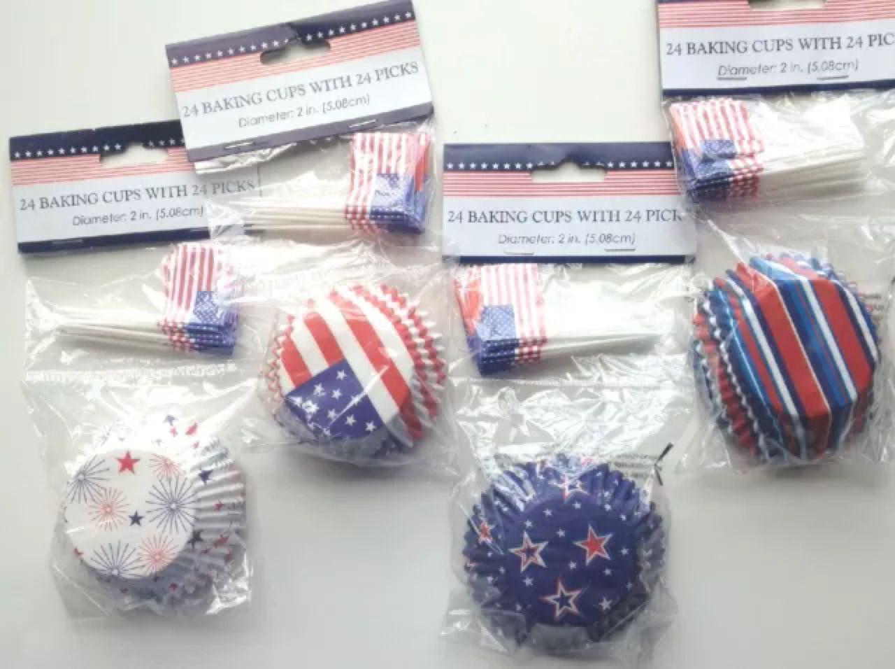 48 Pc Cupcke Baking Cups & Matching Picks: Patriotic Decorations NEW ...