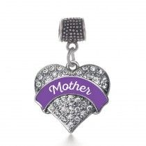 Purple Mother Pave Heart Memory Charm