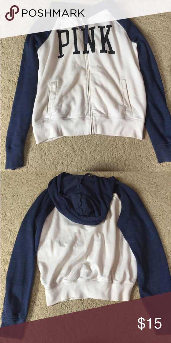 VICTORIA SECRET PINK SWEATSHIRT! Victoria secret pink sweatshirt! White with navy blue on the sleeves and hood! Size small PINK Victoria's Secret Jackets & Coats
