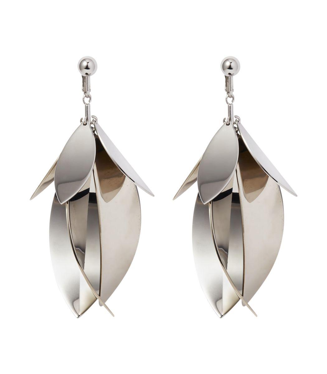 Shopbazaar Proenza Schouler Silver Leaf Earrings Main