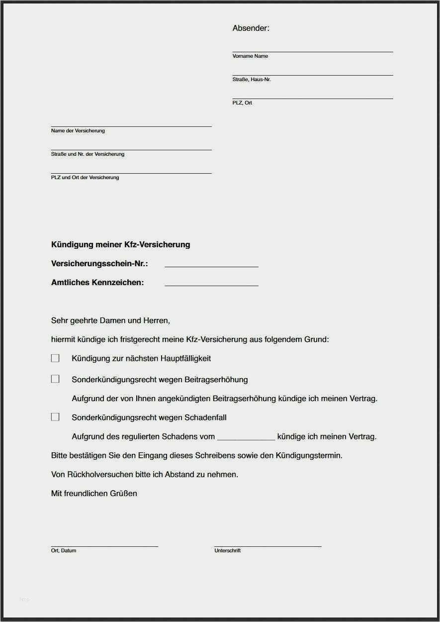 Kfz Versicherung Kundigen Vorlage Kundigungsschreiben Muster