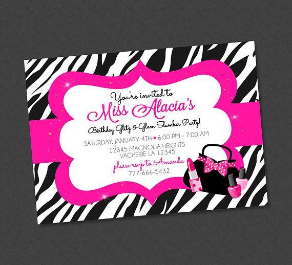 Girly glitz glam pink zebra birthday invitation pink glitzy purse girly glitz glam pink zebra birthday invitation pink glitzy purse nailpolish sleepover lipstick makeup slumber filmwisefo