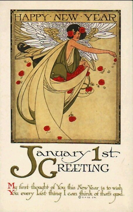 art nouveau new year postcard