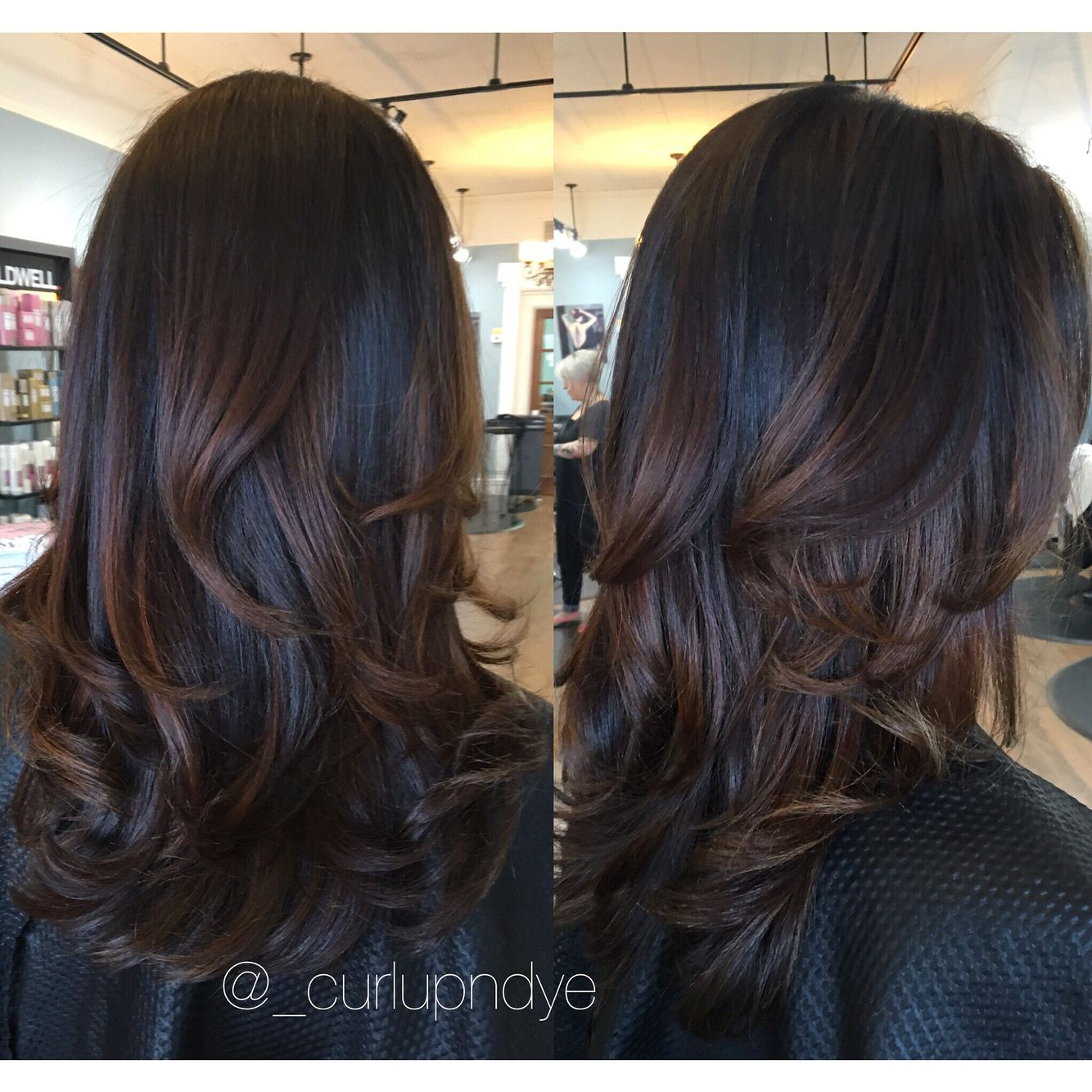 natural brown hairpainting balayage brownhair brunette blowout curls ombre hair. Black Bedroom Furniture Sets. Home Design Ideas