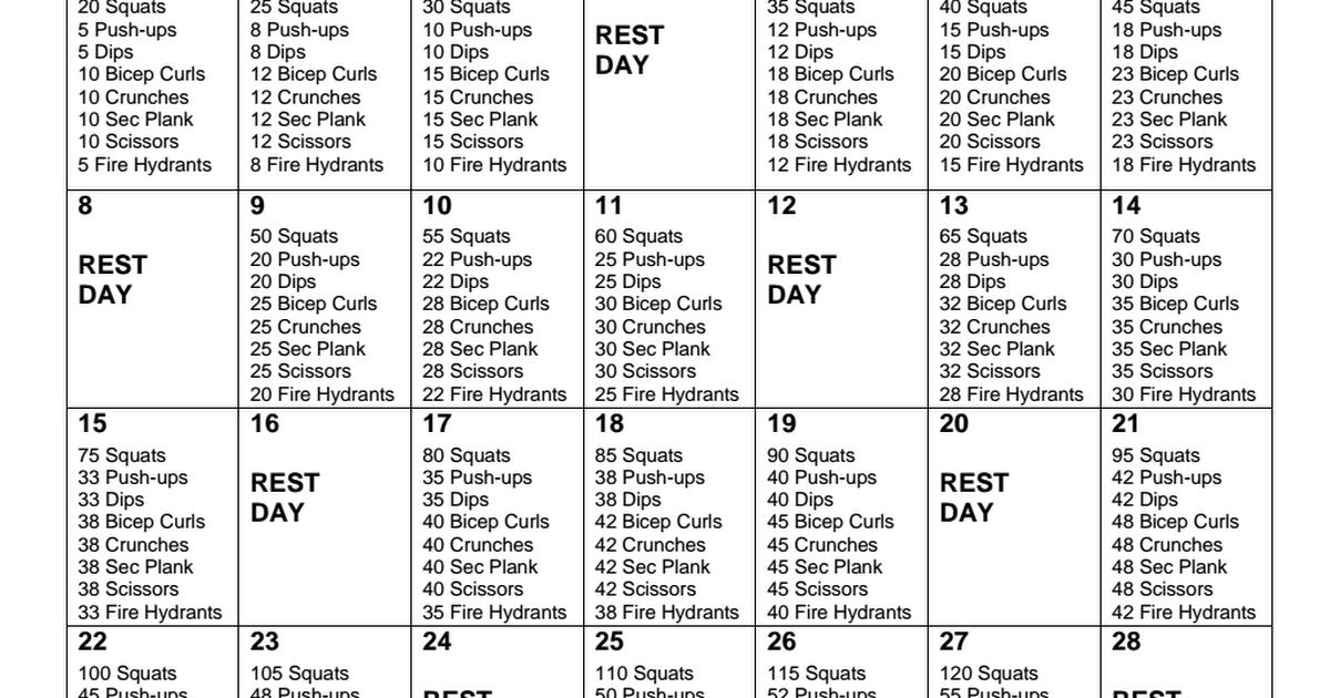 30 Day Challenge Pdf 30 Day Workout Plan Workout Plan 60 Day Workout Plan