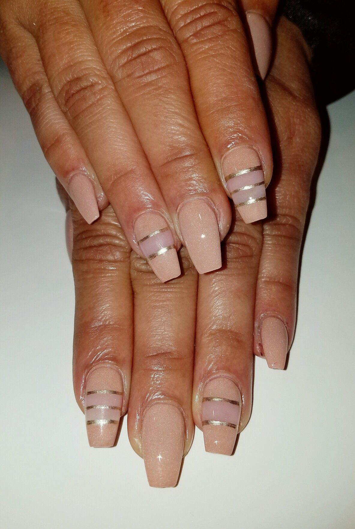 Flirtatious Nails In 2019: Nude And Negative Space Short Coffin Nails