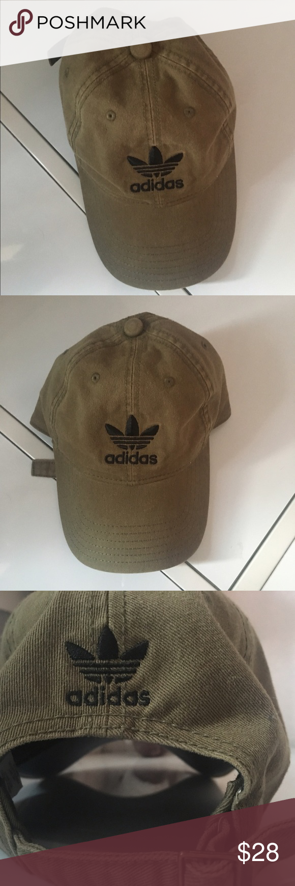 b2f5ebca106 ADIDAS OLIVE HAT BASEBALL CAP Olive green. Black lettering. Never used  adidas Accessories Hats