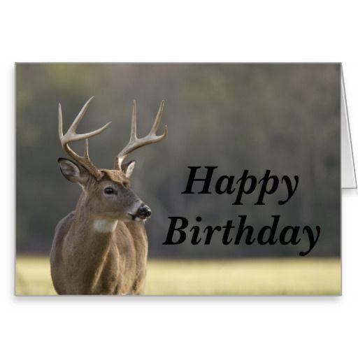 Smoky Mountain Buck Animal Hunting Happy Birthday Card