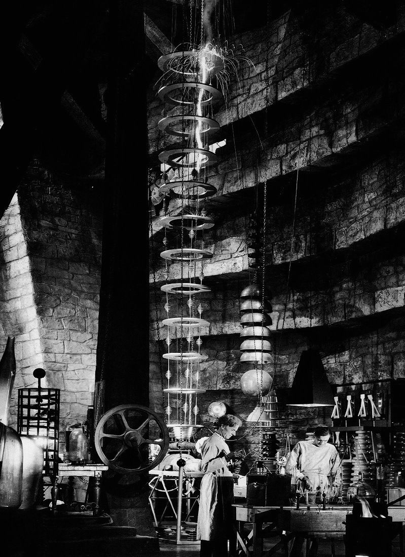 Dr. Frankenstein's laboratory in TheBride of Frankenstein(1935, dir. James Whale) (via) Set design by Charles D. Hall.