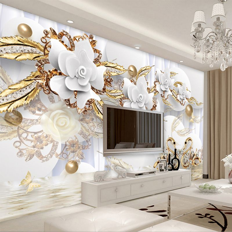 Large 3d European Pearl And Rose Jewelry Tv Background: European Style 3D White Flowers Jewelry Luxury Wallpaper