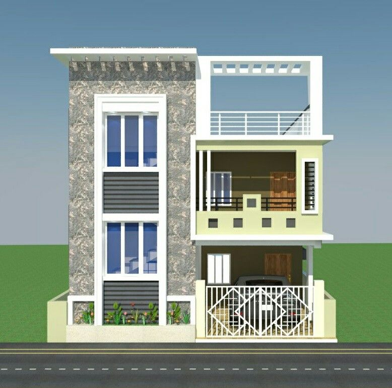 East Facing House Elevation Double Floor Google Search Small House Elevation Design Small House Elevation Duplex House Design
