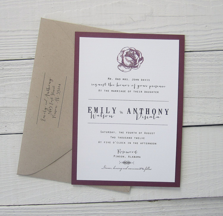 Modern Script Wedding Invitation - Purple Kraft Rustic Vintage Twine ...