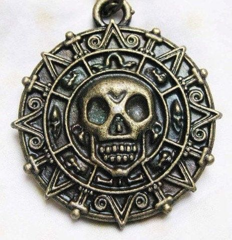 personalized, antiqued brass, Pirates of the Caribbean Aztec gold necklace,