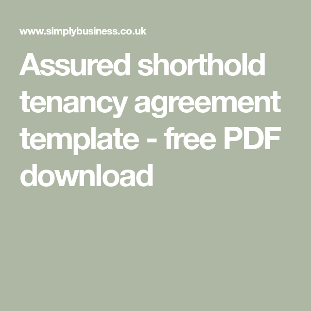 Assured Shorthold Tenancy Agreement Template Free Pdf Download Tenancy Agreement Templates Agreement
