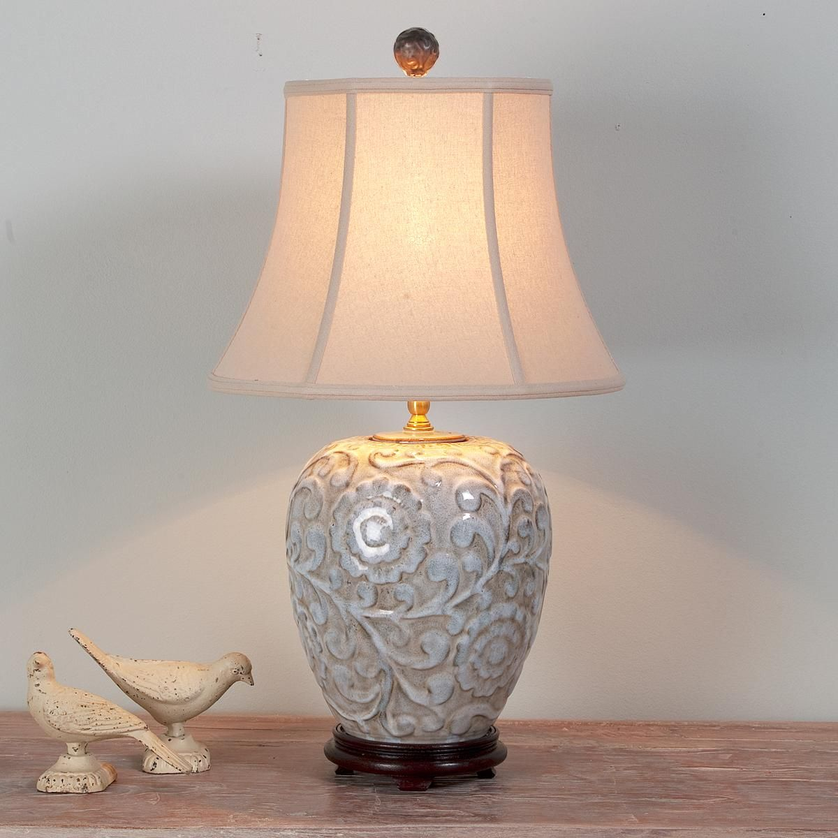 Floral Relief Ceramic Table Lamp