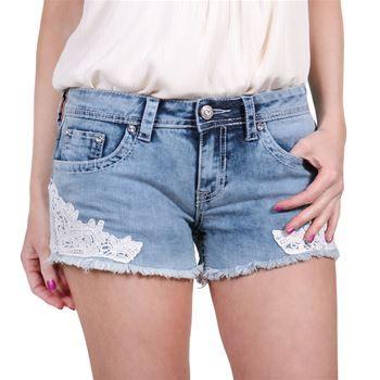 Shyanne® Women's Denim & Lace Cut Off Shorts