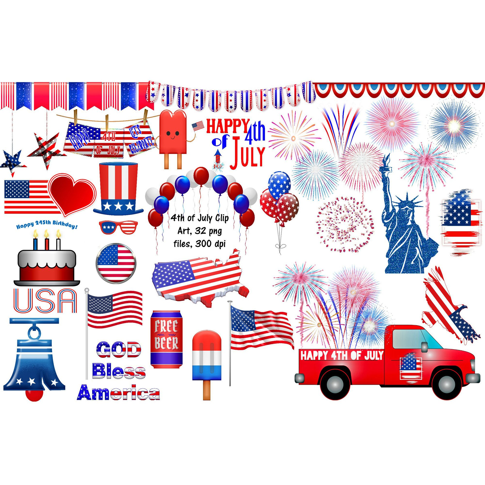 Usa 4th Of July Clip Art Independence Day Usa Flags Etsy In 2021 4th Of July Clipart Clip Art 4th Of July