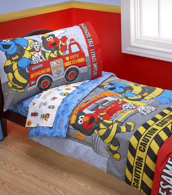 Sesame Street Fire Department 4 Piece Toddler Bedding Set
